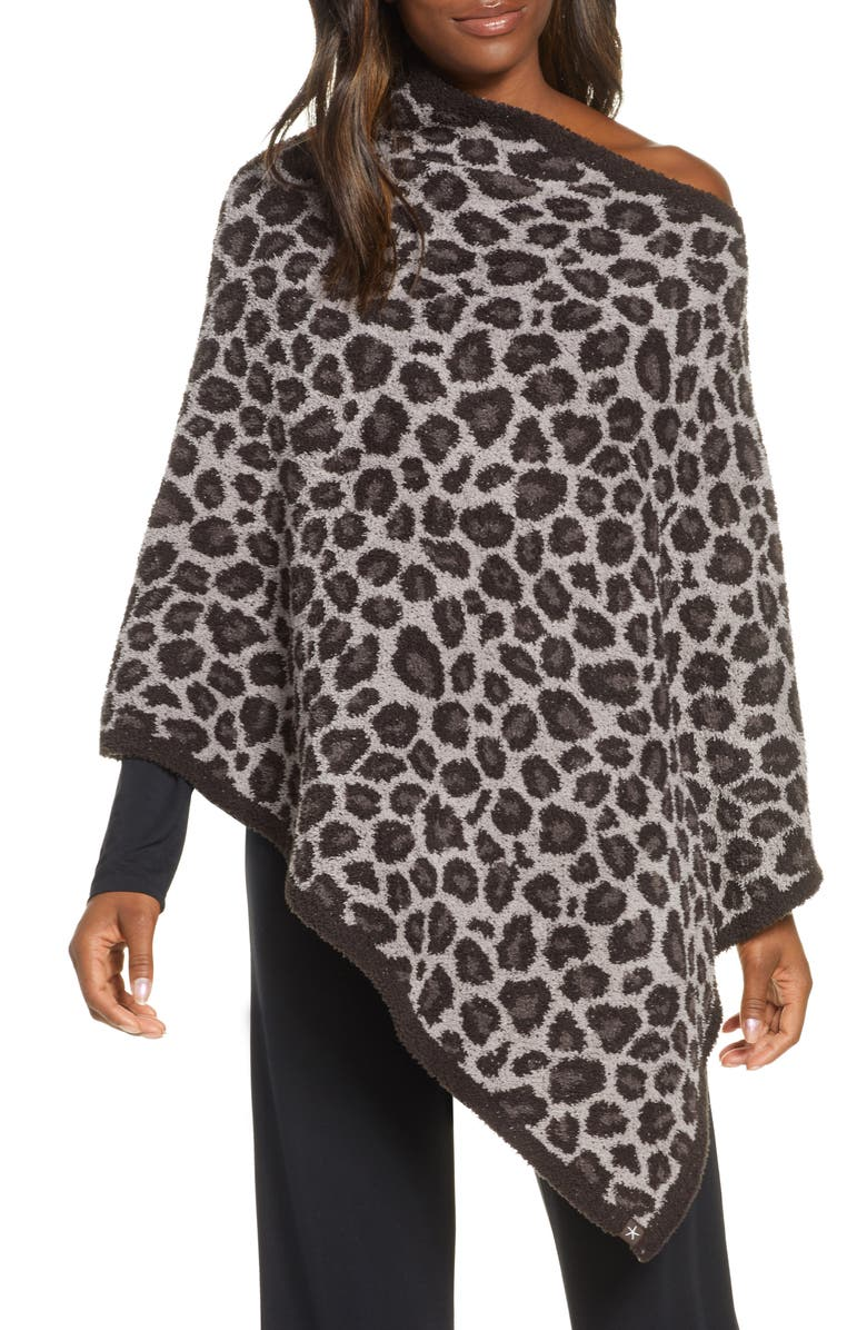BAREFOOT DREAMS<SUP>®</SUP> CozyChic<sup>™</sup> Leopard Print Poncho, Main, color, COCOA MULTI