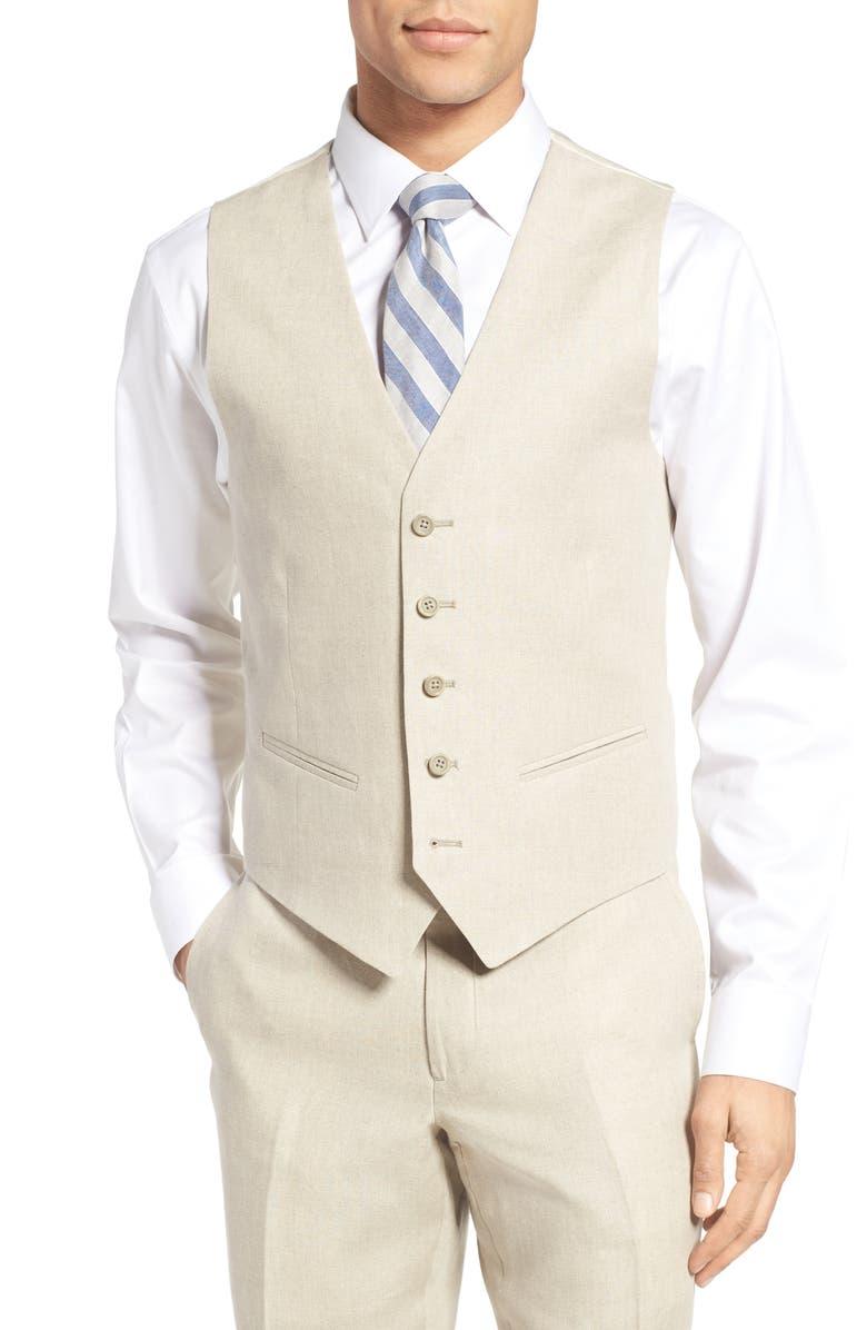 NORDSTROM MEN'S SHOP Trim Fit Solid Linen Vest, Main, color, 250