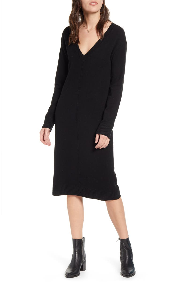 TREASURE & BOND V-Neck Sweater Dress, Main, color, BLACK