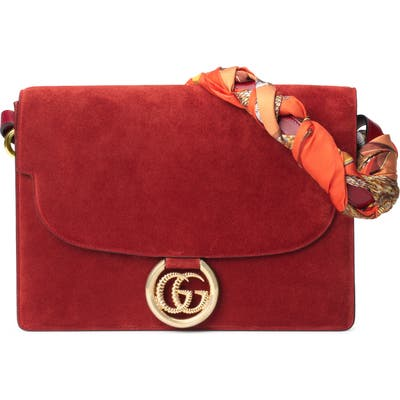 Gucci Medium Gg Ring Suede Shoulder Bag With Horse & Tassel Foulard Scarf - Red