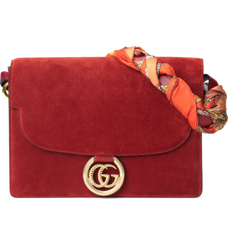 GUCCI Medium GG Ring Suede Shoulder Bag with Horse & Tassel Foulard Scarf, Main, color, NEW CHERRY RED/ ORANGE