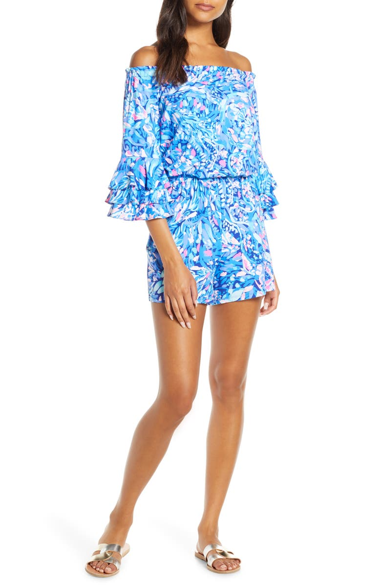 LILLY PULITZER<SUP>®</SUP> Calla Off the Shoulder Romper, Main, color, ROYAL PURPLE WAVE AFTER WAVE