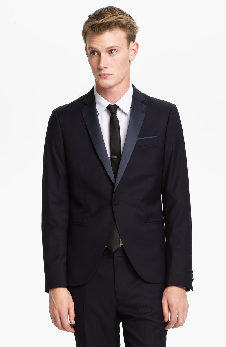 TOPMAN Skinny Fit Single-Button Tuxedo Jacket, Main, color, 410