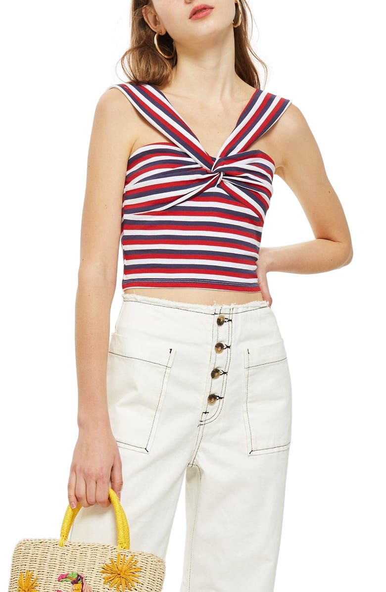 TOPSHOP Stripe Knot Crop Top, Main, color, 601
