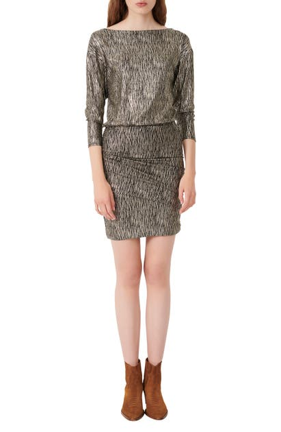 Maje RUCHED METALLIC RUCHED WOVEN DRESS
