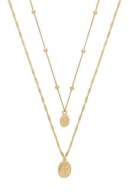 Image of Ettika 18K Gold Plated Double Simple Coin Necklace Set