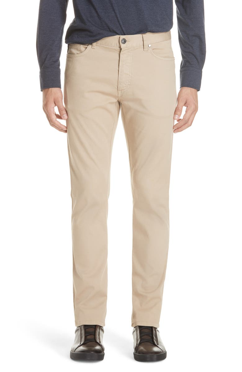 ERMENEGILDO ZEGNA Stretch Cotton Five Pocket Pants, Main, color, LIGHT BEIGE