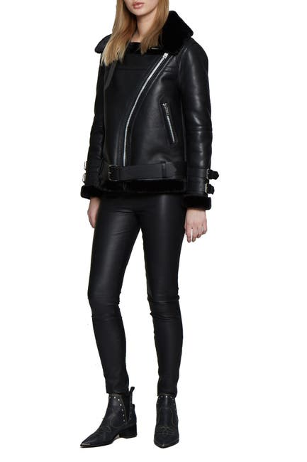 Image of Walter Baker Whitney Faux Fur Trim & Leather Zip Jacket