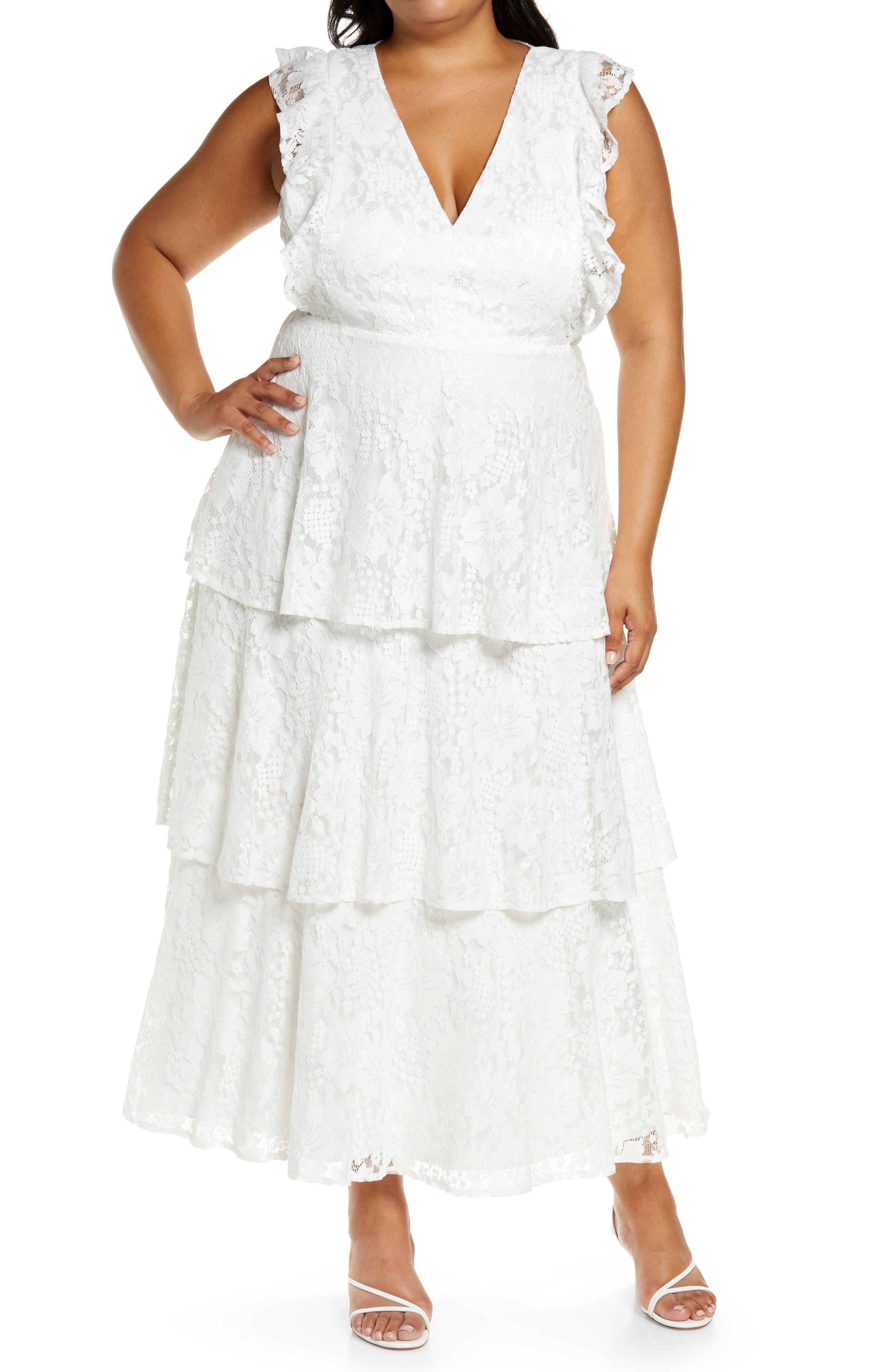Molinetto Lace Ruffle Tiered Dress