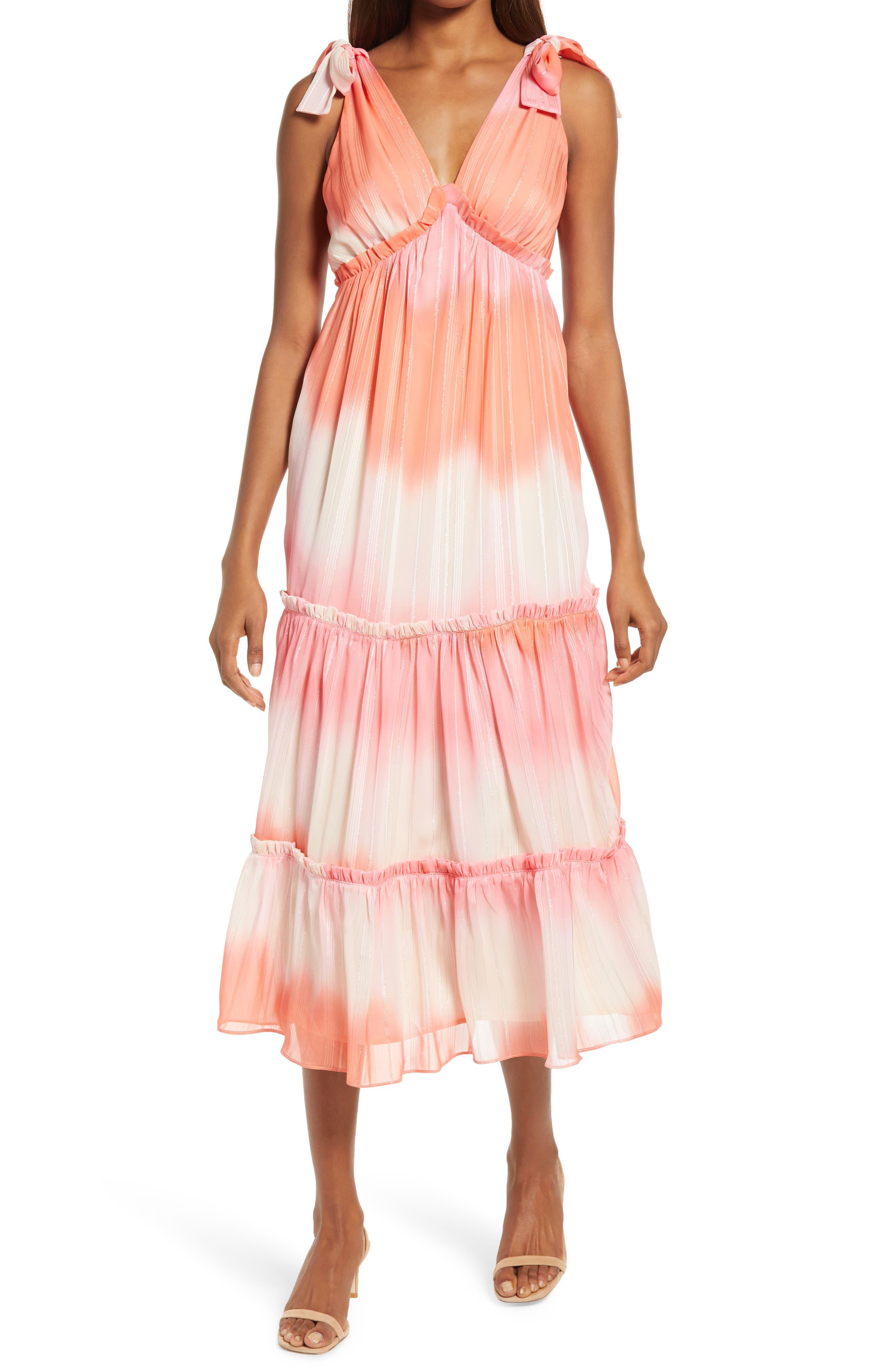 Tie Dye Chiffon Midi Dress