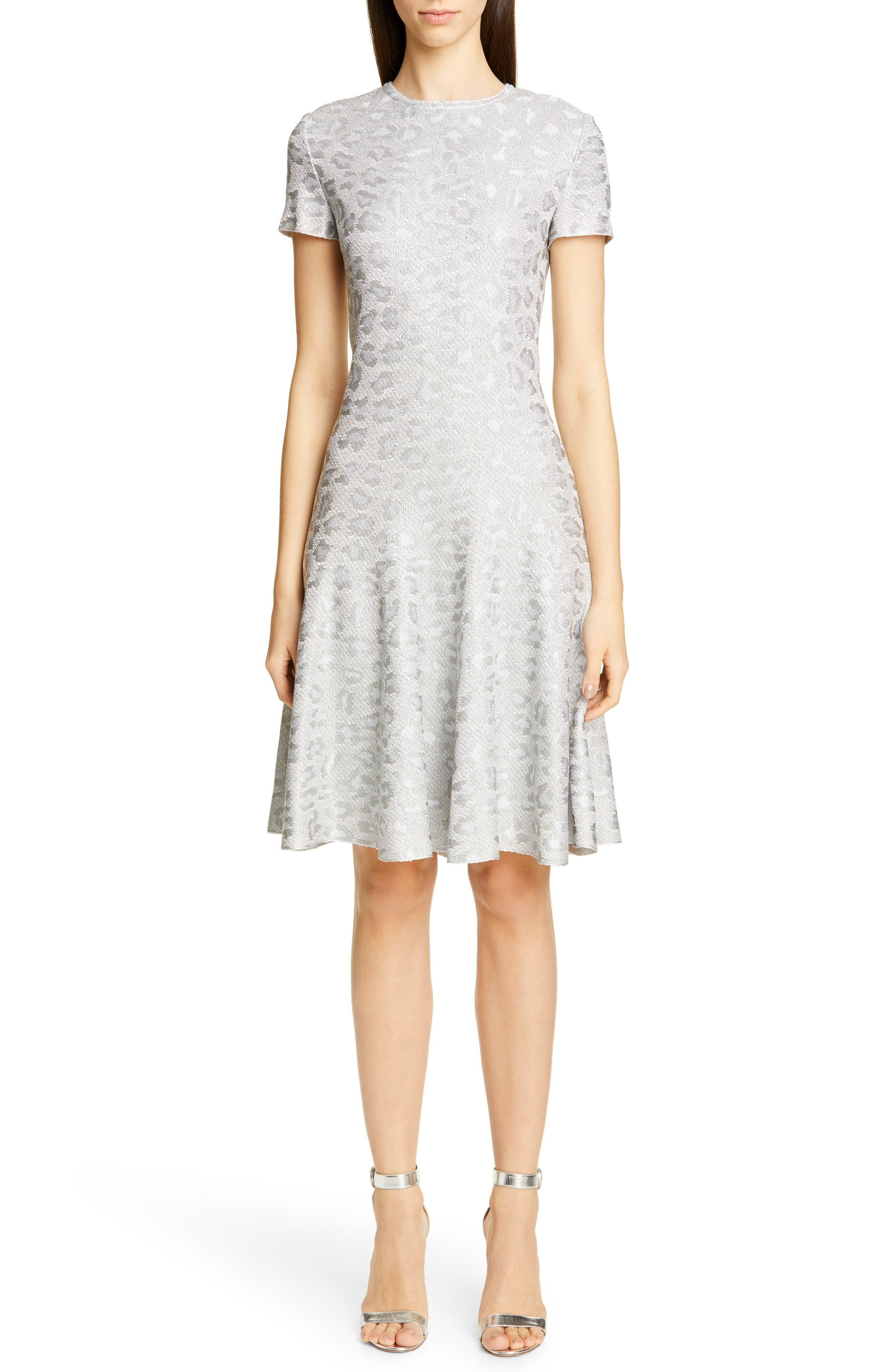 St. John Collection Metallic Animal Jacquard Knit Dress, Metallic