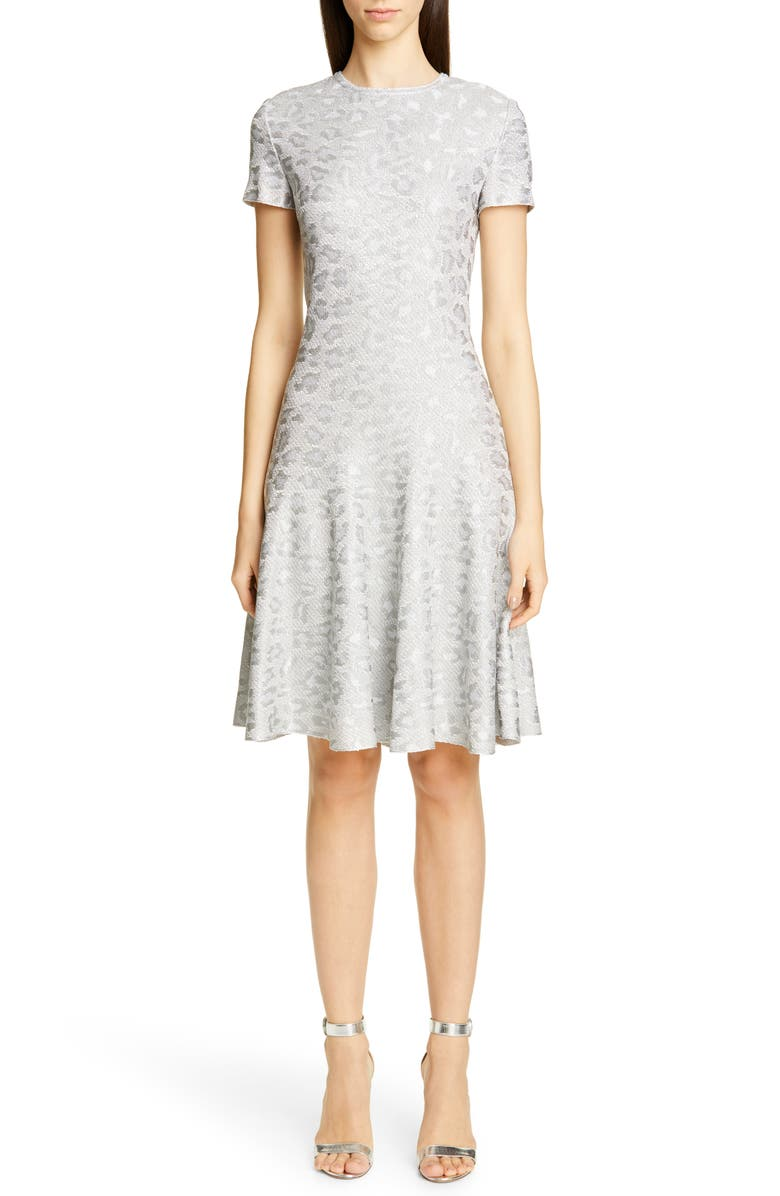 ST. JOHN COLLECTION Metallic Animal Jacquard Knit Dress, Main, color, SILVER