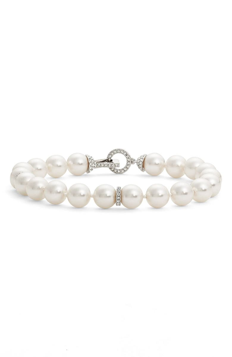 NADRI Single Row Imitation Pearl Bracelet, Main, color, IVORY