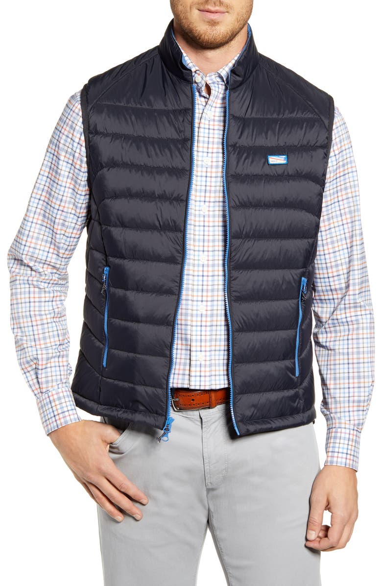 JOHNNIE-O Hudson Classic Quilted Nylon Vest, Main, color, BLACK