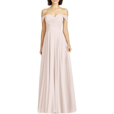 Dessy Collection Lux Ruched Off The Shoulder Chiffon Gown, Pink