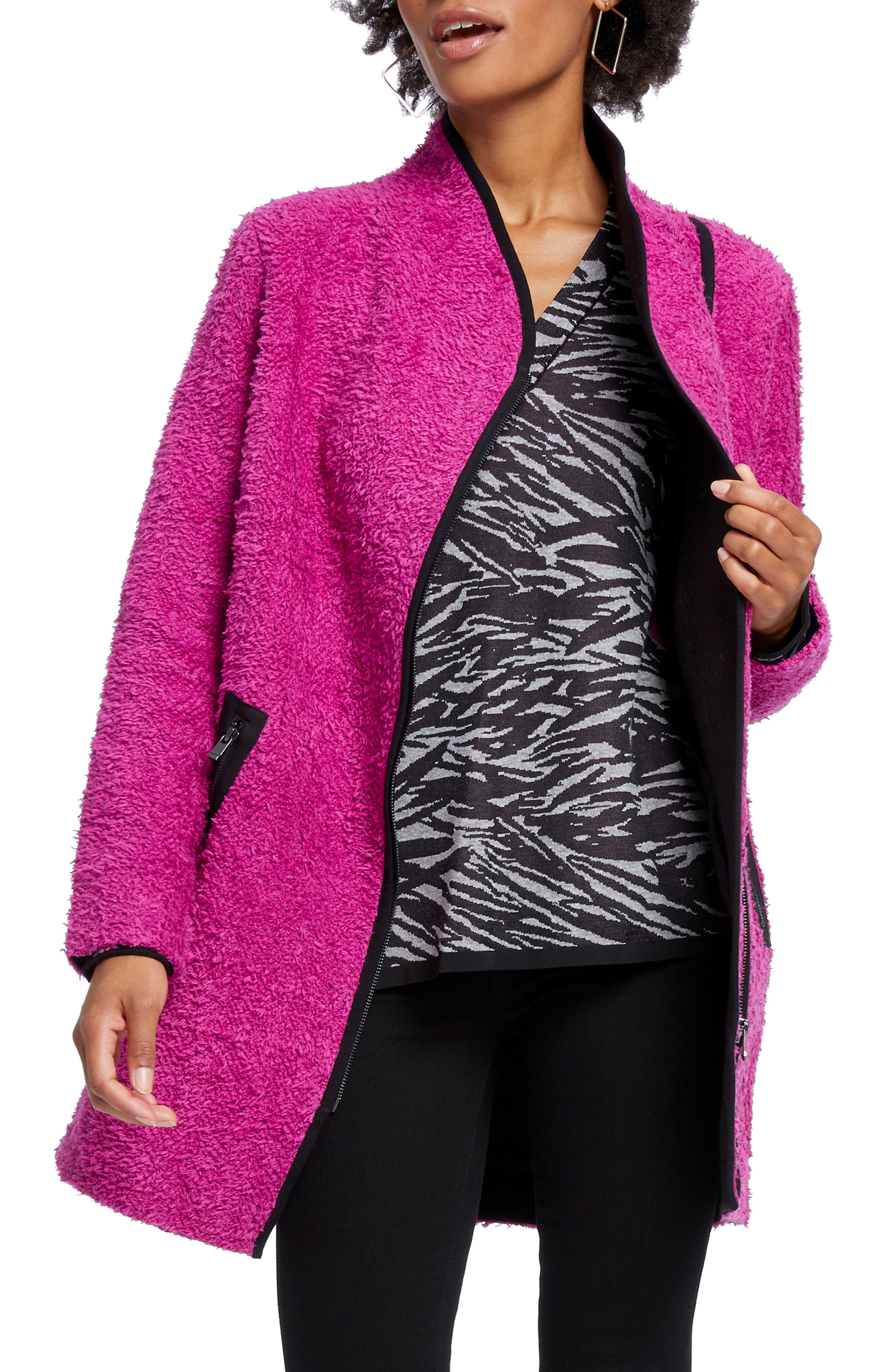 A scrumptious textured coat, outlined with contrast details, is ready to help you challenge the dreary days in your own personal pop of color. Style Name: Nic+Zoe Pretty In Pink Fuzzy Cotton Blend Coat. Style Number: 5900353. Available in stores.