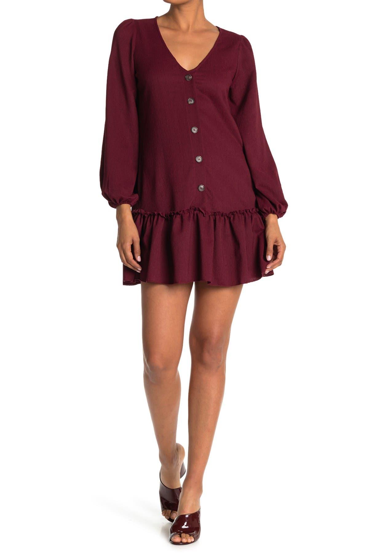 Image of KENEDIK Ruffle Hem Crinkle Button Dress