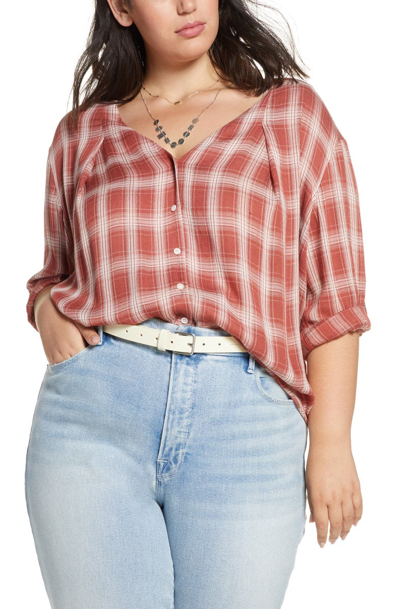 TREASURE & BOND Plaid Top, Main, color, RUST MARSALA GRETCHEN PLAID
