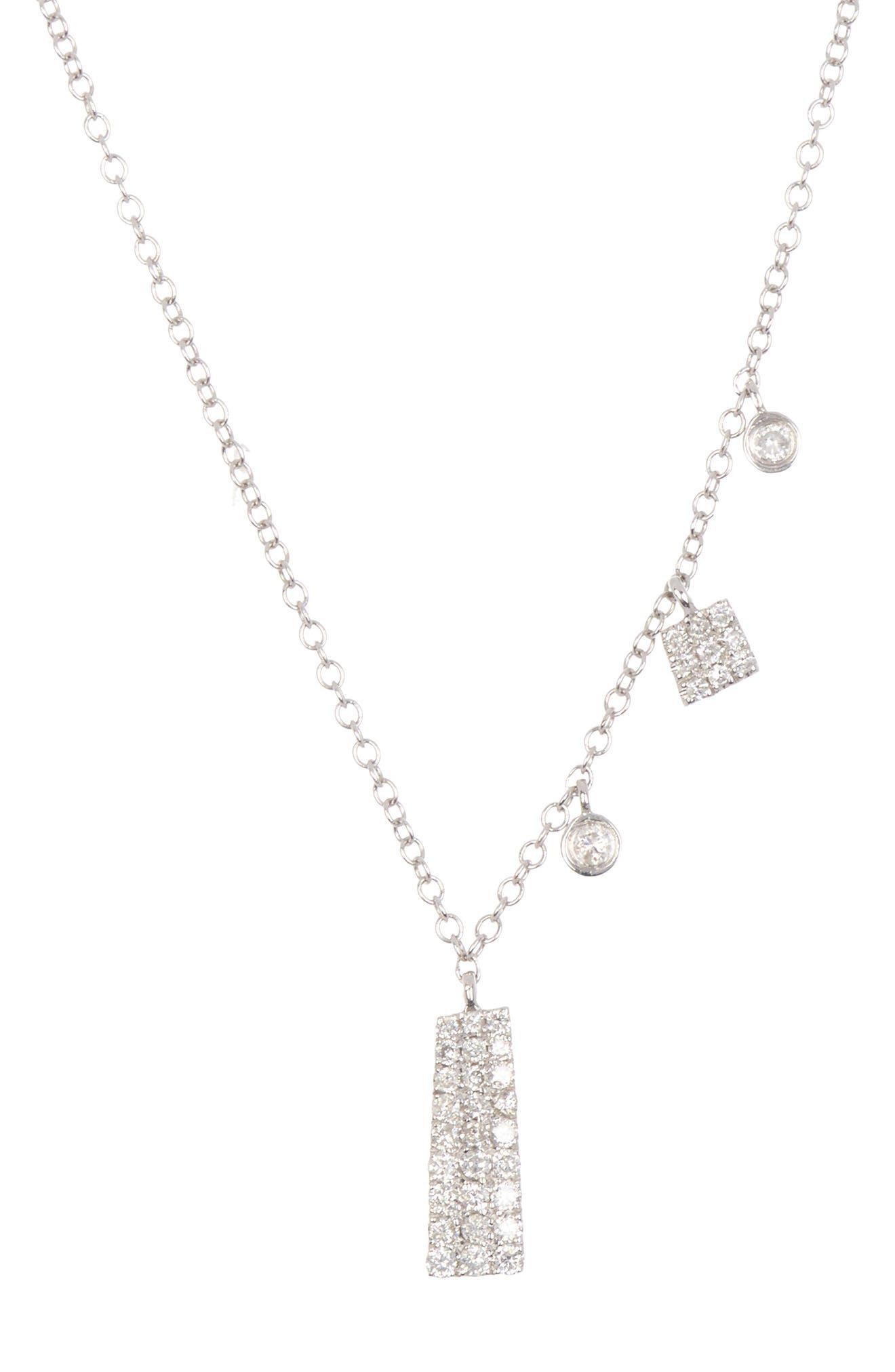 Meira T 14k White Gold White Diamond Necklace