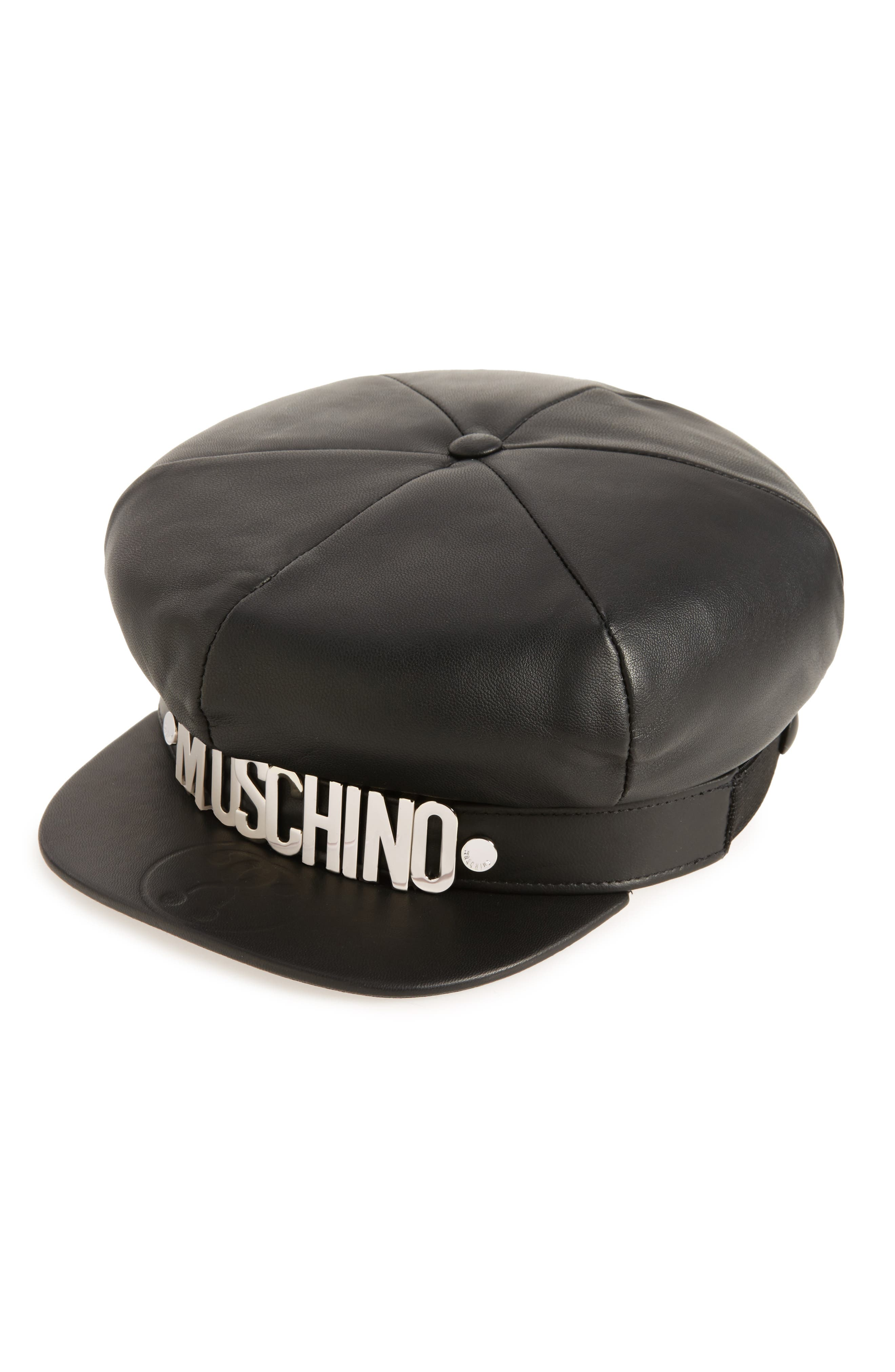Leather Cap, Main, color, 001