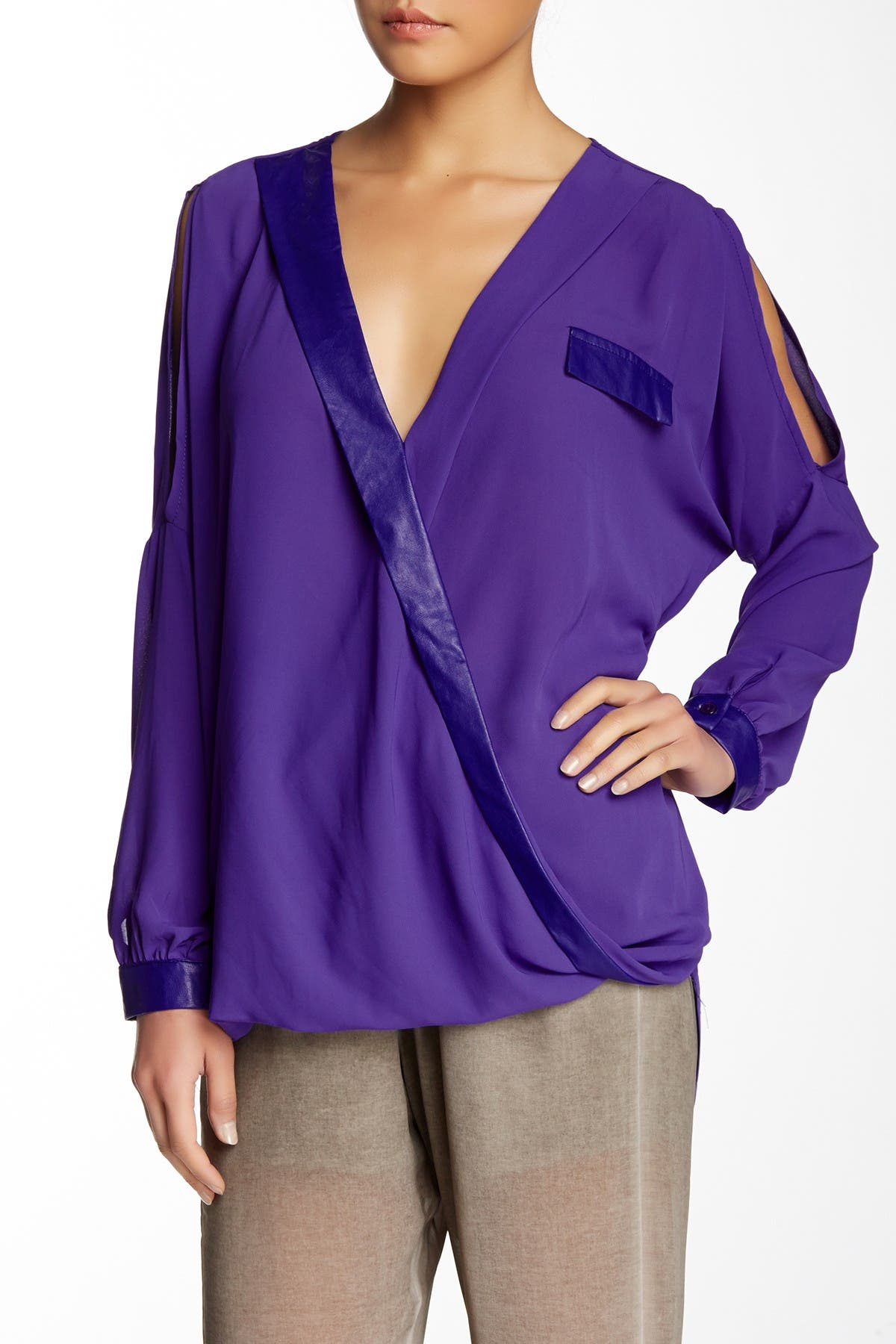 Image of TOV Faux Leather Trim Wrap Blouse