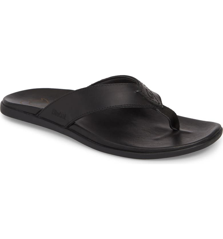 OLUKAI Nalukai Flip Flop, Main, color, BLACK/ BLACK LEATHER