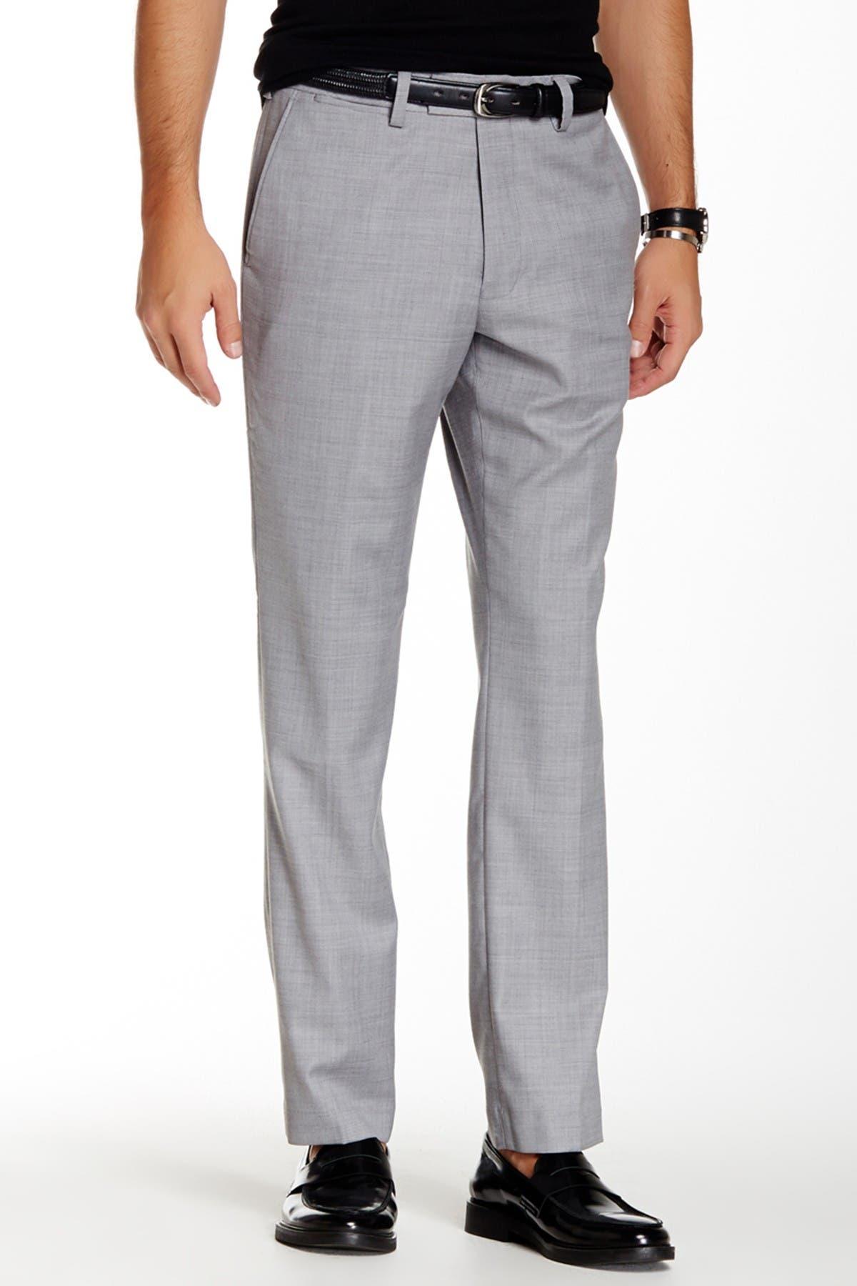 "Image of Louis Raphael Solid Stretch Dress Slim Fit Pants - 30-34"" Inseam"