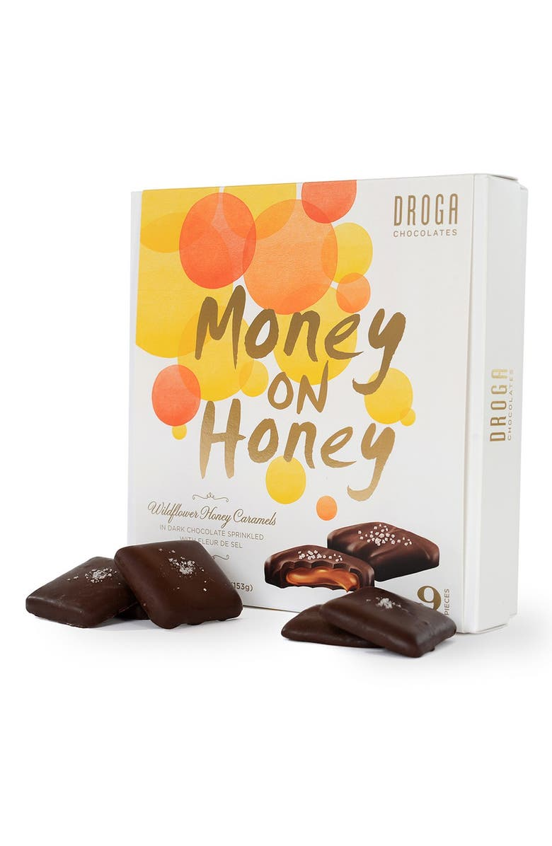 DROGA CHOCOLATES 'Money on Honey' Wildflower Honey Caramels in Dark Chocolate, Main, color, 800