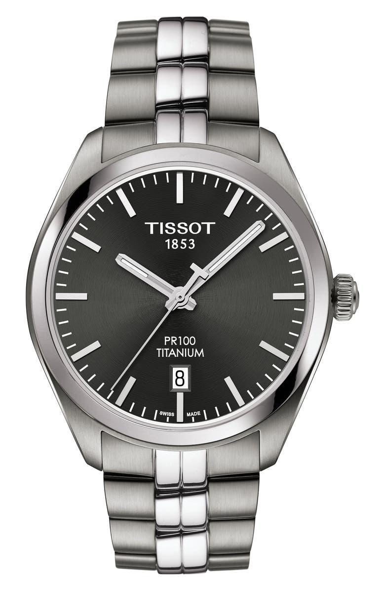 TISSOT PR100 Titanium Bracelet Watch, 39mm, Main, color, SILVER/ ANTHRACITE/ SILVER