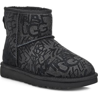 UGG Classic Mini Sparkle Graffiti Boot, Black