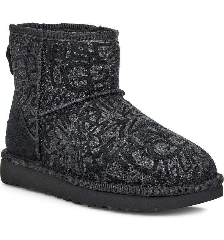 UGG<SUP>®</SUP> Classic Mini Sparkle Graffiti Boot, Main, color, BLACK SUEDE
