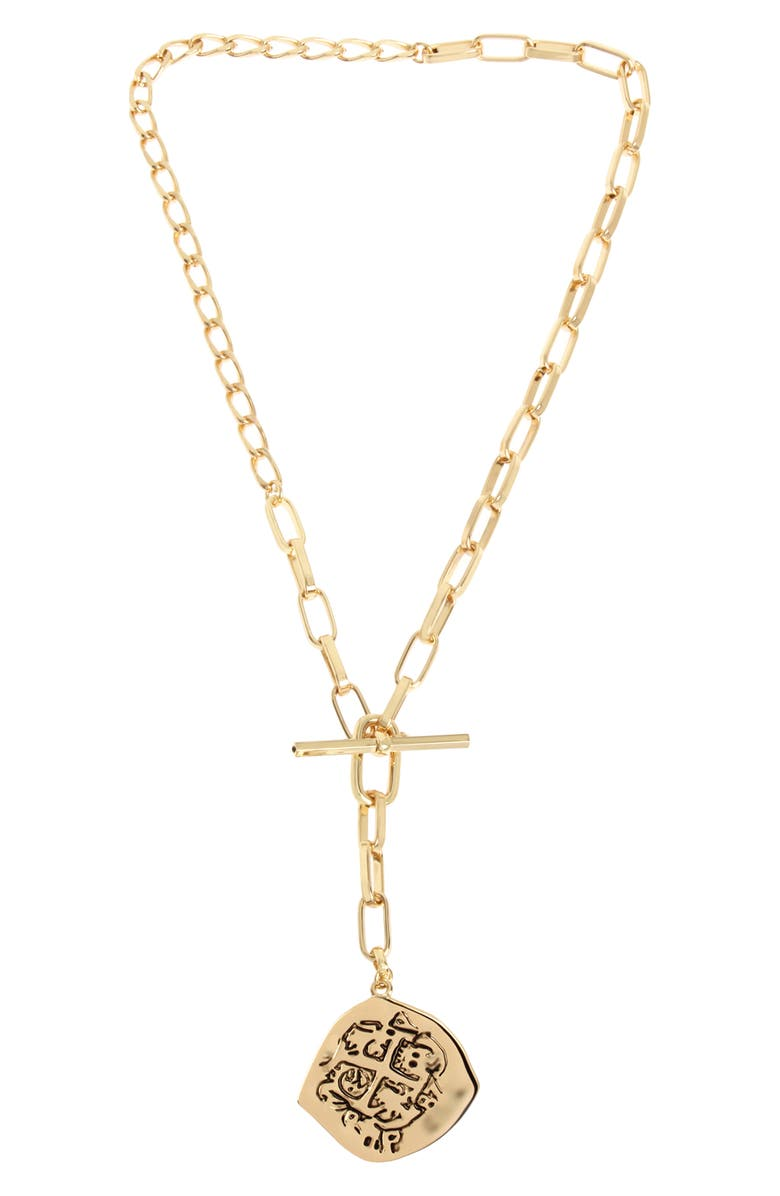 ALLSAINTS Coin Y-Necklace, Main, color, GOLD