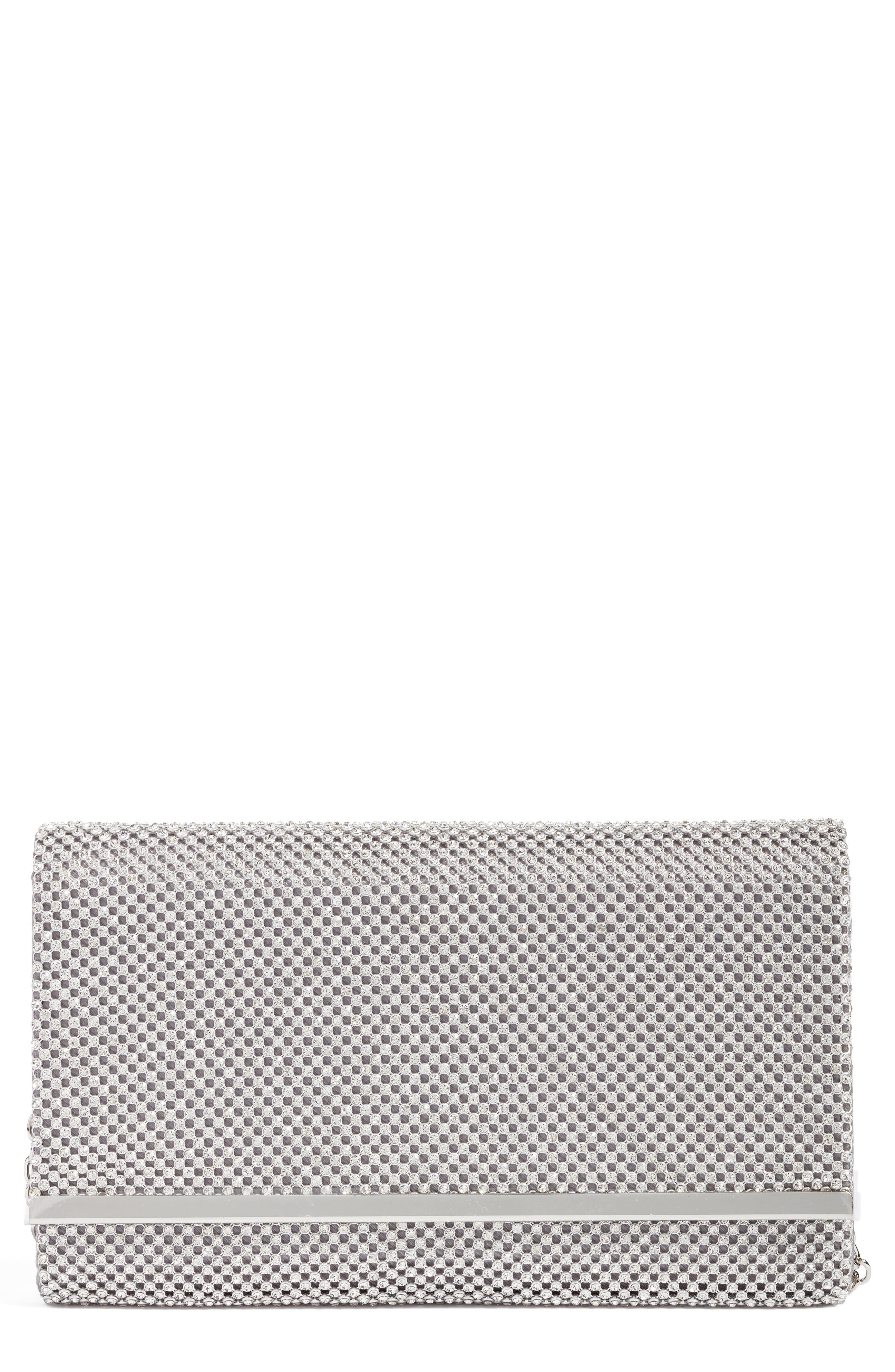 Crystal-dotted metal mesh adds extravagant sparkle and shine to a trim flap clutch outfitted with a convenient drop-in chain strap. Style Name: Nordstrom Crystal Mesh Bar Clutch. Style Number: 5356618 1. Available in stores.