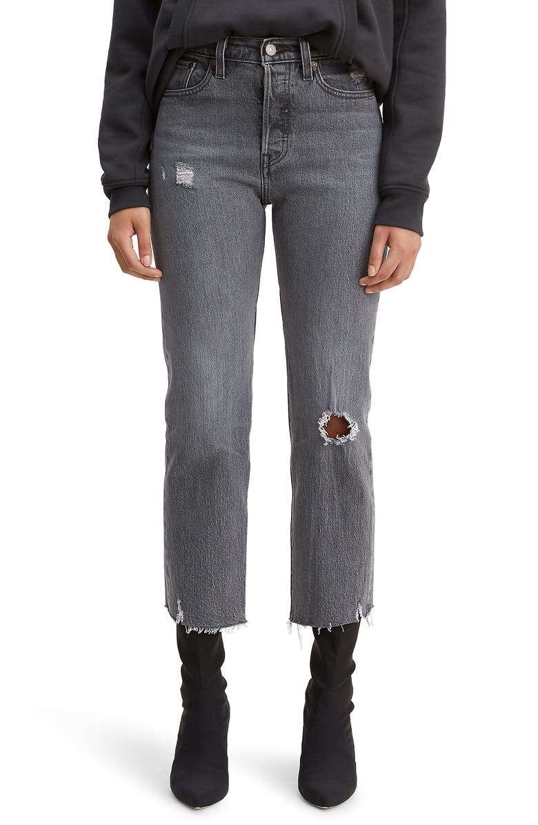 LEVI'S<SUP>®</SUP> Wedgie High Waist Crop Straight Leg Jeans, Main, color, CABO SMOKE