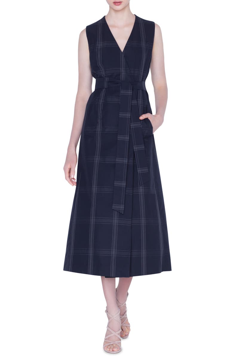 AKRIS Check Cotton Poplin Midi Dress & Bolero, Main, color, BLACK