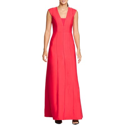 Halston Heritage Structured A-Line Gown, Red