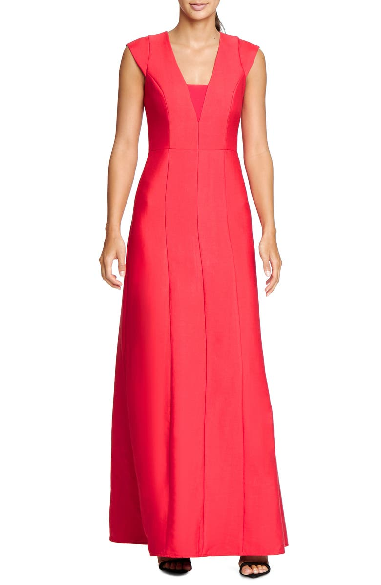 HALSTON HERITAGE Structured A-Line Gown, Main, color, 600