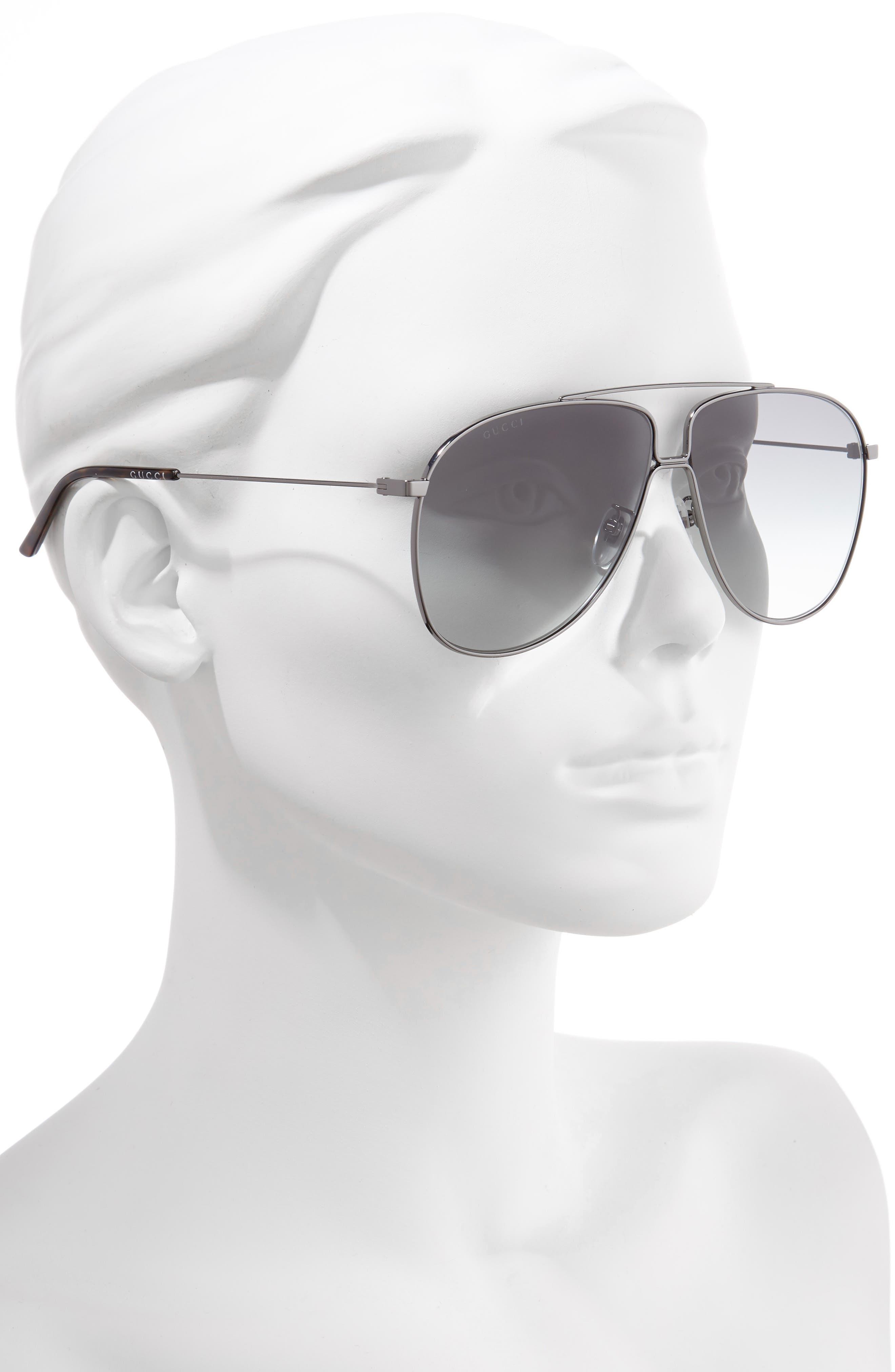,                             63mm Oversize Aviator Sunglasses,                             Alternate thumbnail 2, color,                             SHNY DK RUTH/ GREY GRAD