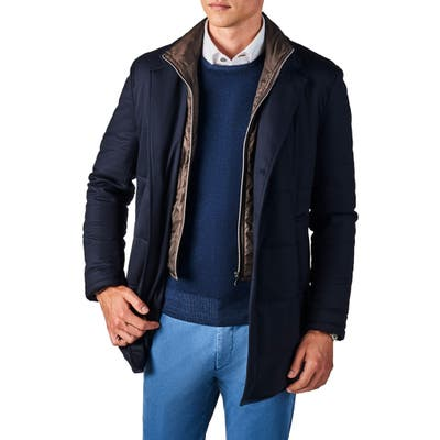Zanella Classic Fit Stretch Wool Car Coat, Blue