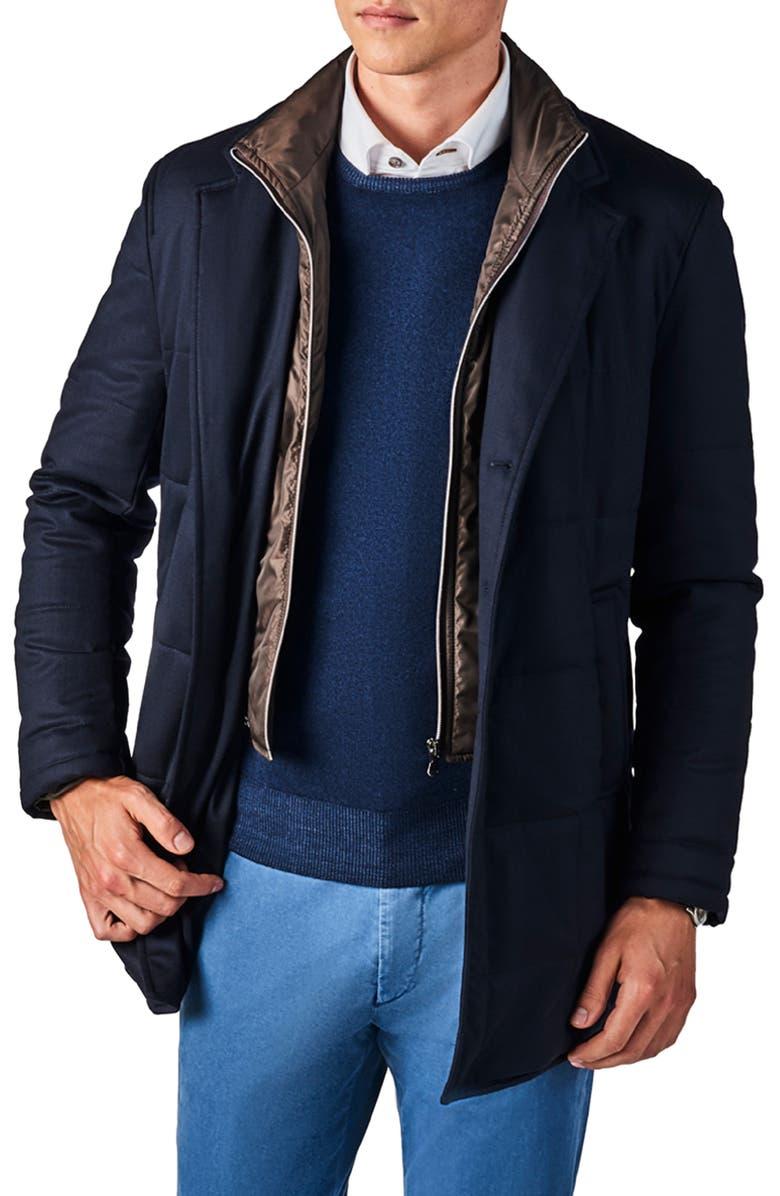ZANELLA Classic Fit Stretch Wool Car Coat, Main, color, 401