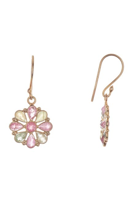 Image of Forever Creations USA Inc. 18K Gold Vermeil Sterling Silver Tourmaline Flower Drop Earrings