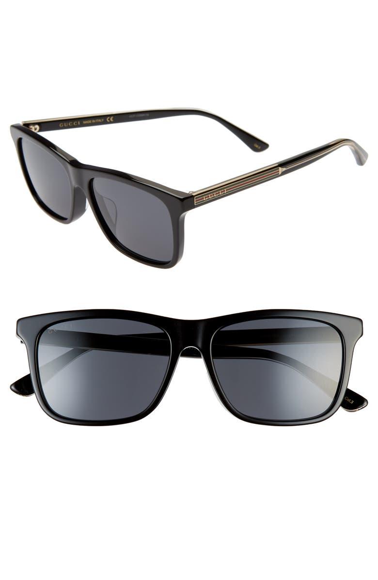 GUCCI 56mm Sunglasses, Main, color, SHINY SOLID BLACK