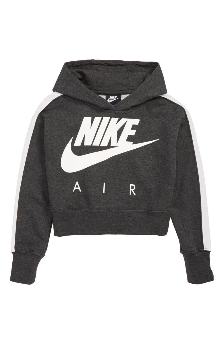 NIKE Air Logo Crop Sweatshirt, Main, color, BLACK HEATHER/ WHITE/ WHITE