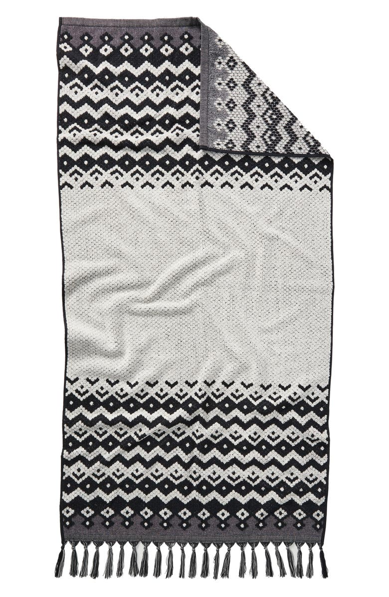 ANTHROPOLOGIE HOME Casablanca Bath Towel, Main, color, BLACK AND WHITE COMBO