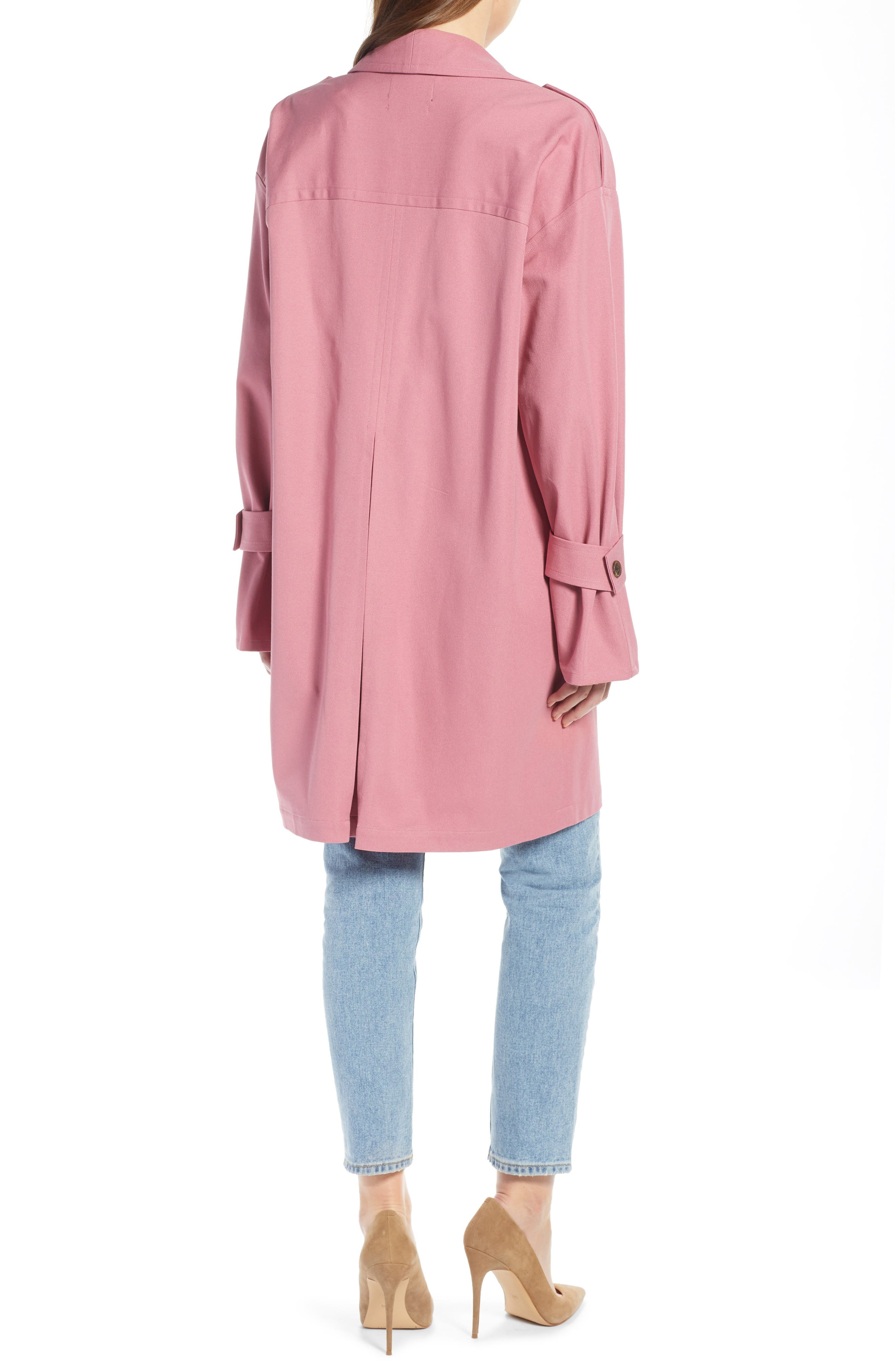 ,                             Easy Oversize Trench,                             Alternate thumbnail 4, color,                             PINK HEATHER