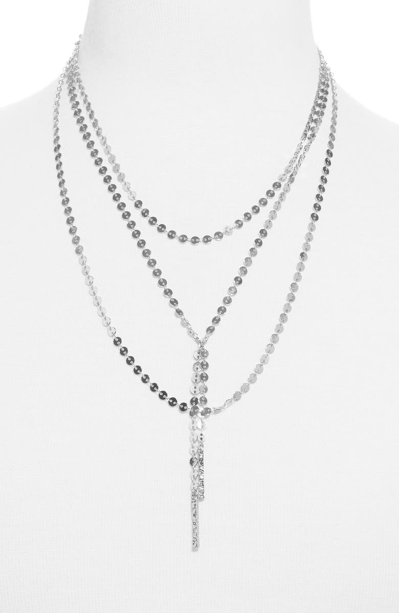 BAUBLEBAR Amber Layered Chain Y-Necklace, Main, color, SILVER
