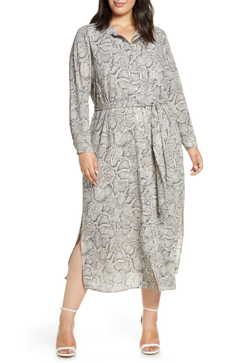 1.STATE Snake Print Long Sleeve Shirtdress, Main, color, FEATHER GREY