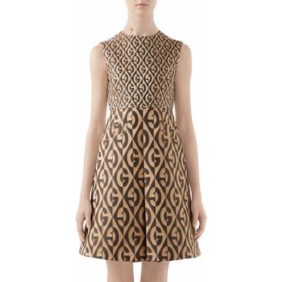 Gucci Gg Rhombus Jacquard Minidress, US / 40 IT - Beige