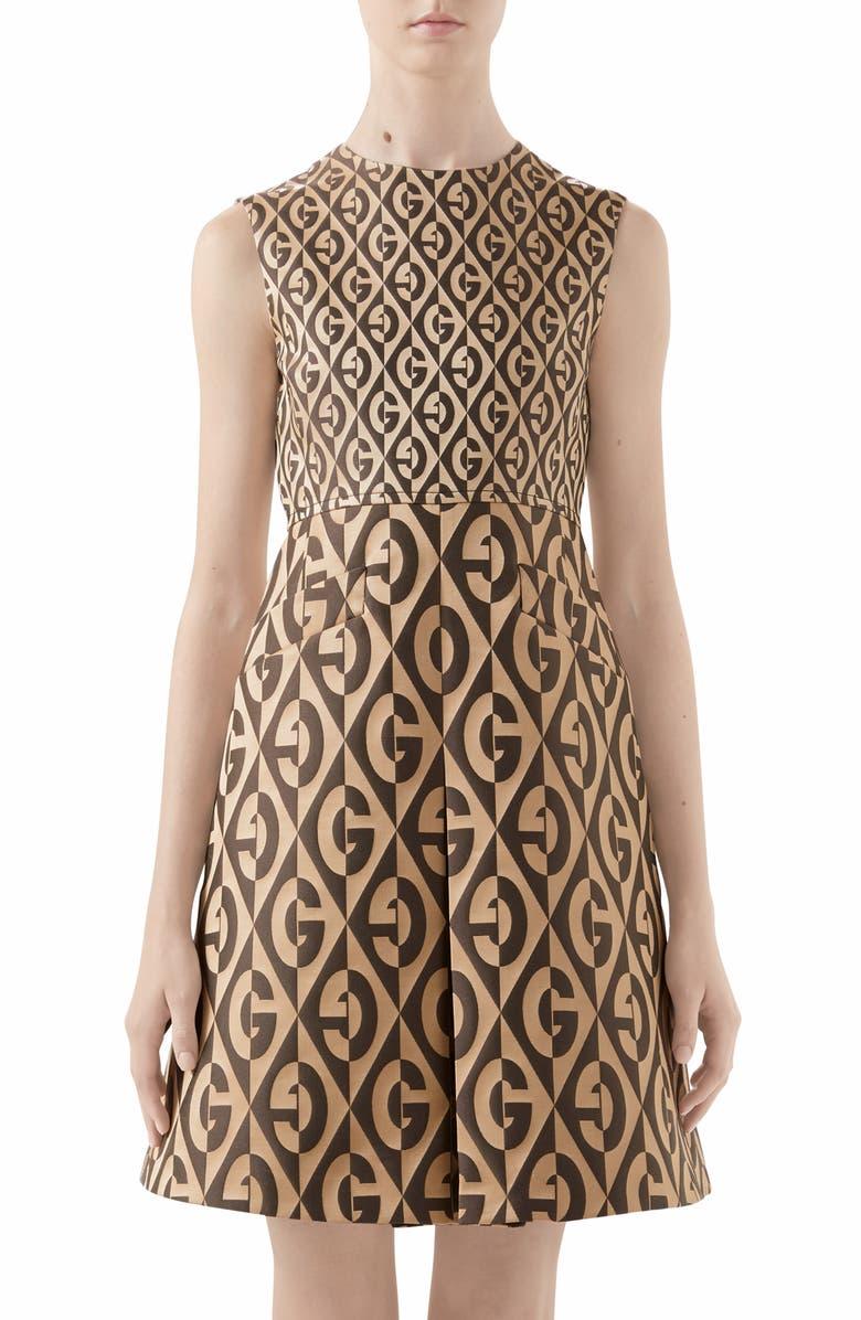 GUCCI GG Rhombus Jacquard Minidress, Main, color, BEIGE/ BLACK