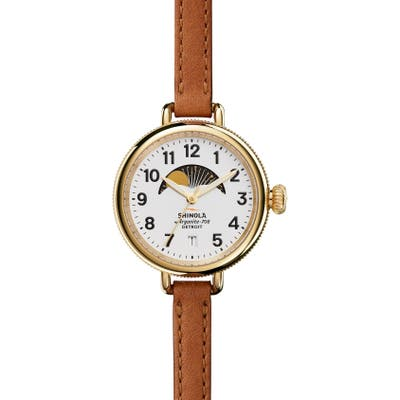Shinola The Birdy Moon Phase Leather Strap Watch,